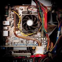 alter staubiger PC Motherboard Vintage Farbeffekt foto