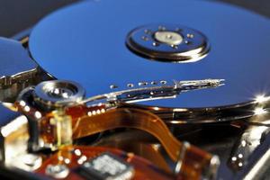 Festplatte mit zwei Platten in blau foto