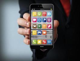 Schnittstelle Geschäftsmann Smartphone