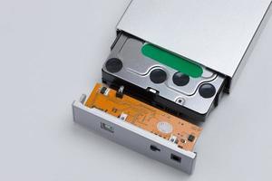 Festplatte, die im Fall eingestellt wurde. foto