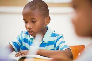 Schüler arbeiten hart am Schreibtisch