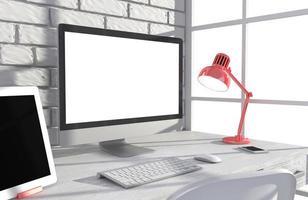 Illustration PC-Bildschirm auf Tisch im Büro, Arbeitsbereich foto