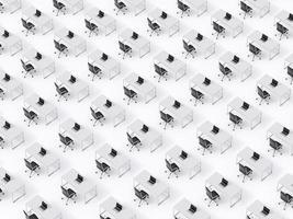 Draufsicht auf die symmetrischen Unternehmensarbeitsplätze auf weißem Boden