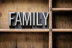 Familienbuchstaben Typ in Schublade foto