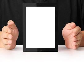 zeigt Tablette foto