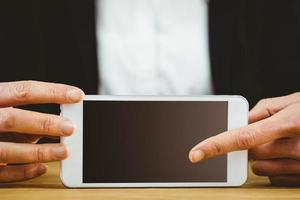 Geschäftsfrau mit ihrem Tablet-PC foto