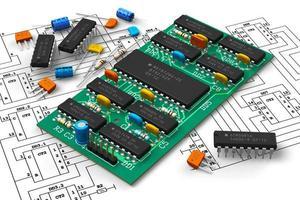 eine Nahaufnahme einer digitalen Leiterplatte mit Mikrochips foto