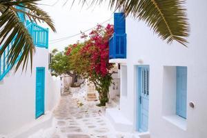 Straßenansicht von Mykonos mit Palmblättern, Griechenland foto
