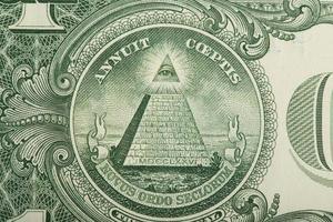 Makro von uns Dollar Geld Banknote foto