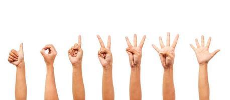 Frauenhände isoliert zeigen die Nummer