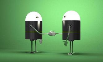 Roboter mit leuchtenden Köpfen Händeschütteln foto