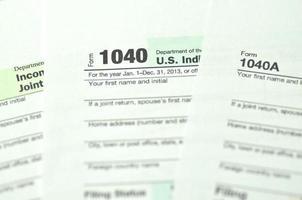 Nahaufnahme von uns Steuerformulare foto