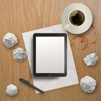 3D leere Tablette und eine Tasse Kaffee foto