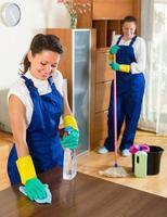 professionelle Reinigungskräfte bei der Arbeit foto