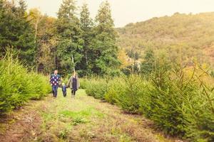 glückliche Familie mit Kind, das Weihnachtsbaum am Bauernhof wählt foto