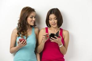 zwei glückliche asiatische Frauen, die dort Smartphones benutzen.