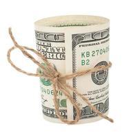 Banknote hundert Dollar, mit einem Seil mit einem Bogen gebunden foto