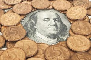 russische Rubel und US-Dollar foto