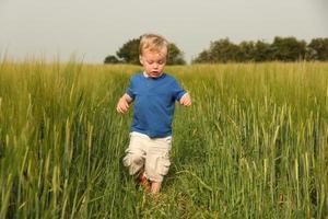 kleiner Junge, der durch landwirtschaftliches Feld geht foto