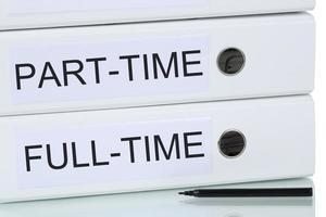 Teilzeit- und Vollzeitjob-Geschäftskonzept foto