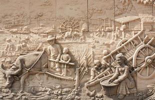 thailändische Kultur Steinschnitzerei foto