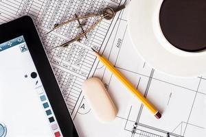 Erstellung des Designprojekts, die Arbeit für Ihr Tablet foto