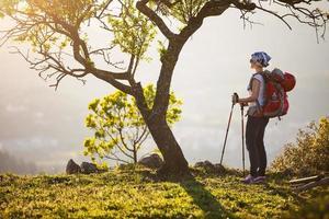 weiblicher Wanderer, der auf Klippe steht und Ansicht genießt