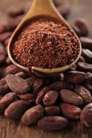 Kakaopulver im Löffel auf gerösteten Kakaoschokoladenbohnen foto
