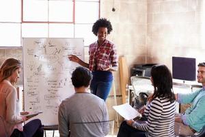 Gruppe von Designern mit Brainstorming-Sitzung im Büro
