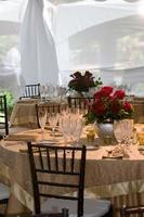 elegante Hochzeitsfeier Abendessen Bankett Party Tischdekoration foto