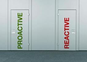 proaktiv oder reaktiv, Konzept der Wahl foto