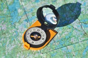 Kompass, Karte, im Freien.