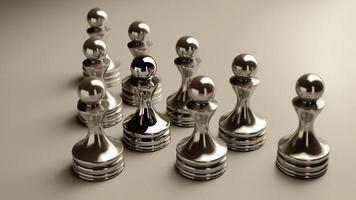 Schachhintergrund zentrale Figur-Bauer 3d Illustration. hohe Auflösung