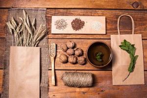 Sammlung von gesunden Superfood, Draufsicht foto