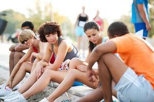 Läufer kommunizieren. foto