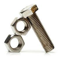 Stahlmuttern und -schrauben foto