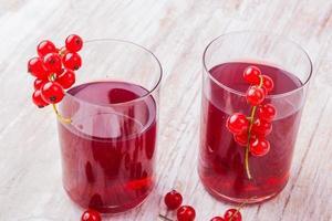 Getränk mit roten Johannisbeeren in Glassen