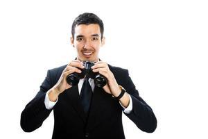 Mann mit Fernglas foto