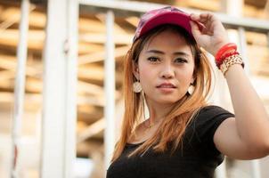 Porträt Nahaufnahme der jungen schönen Frau foto