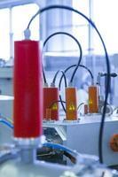 Details des Ionenbeschleunigers, industriell blau getönt foto