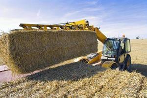 Traktor, der Strohballen auf Anhänger im sonnigen, ländlichen Feld stapelt foto