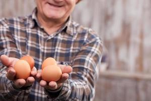 fröhlicher reifer Landarbeiter mit Bio-Produkten foto