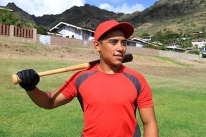 Baseballspieler lächelt foto