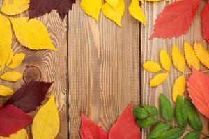 Herbstlaub über Holzhintergrund mit Kopierraum