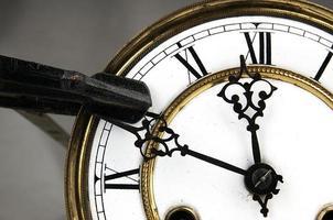 Zimmermannsklemme stoppt die Uhr foto