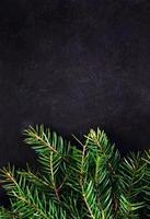 Weihnachtsbaumzweig auf Tafel mit Kopierraum für Begrüßung foto