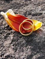 goldene Eheringe auf Erden mit Blütenblatt und Kopienraum foto