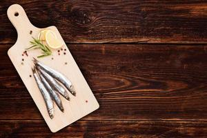 Meeresfrüchte-Hintergrund mit Kopienraum. foto