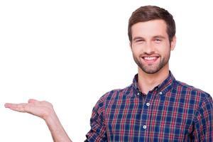 Kopierraum in seiner Hand. foto
