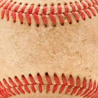 Makro Detail des abgenutzten Baseballs foto